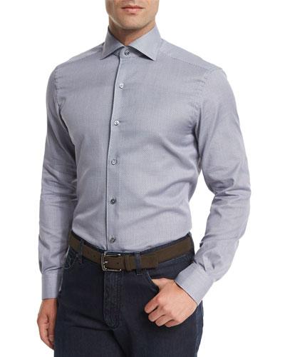 Jacquard-Print Long-Sleeve Sport Shirt, Navy