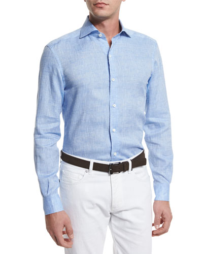 Linen Long-Sleeve Sport Shirt, Light Blue