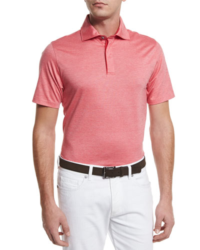 Stretch-Cotton Polo Shirt, Strawberry Red