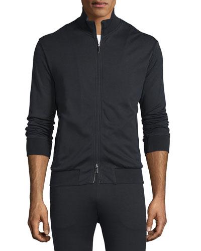 Full-Zip Jersey Track Jacket, Black
