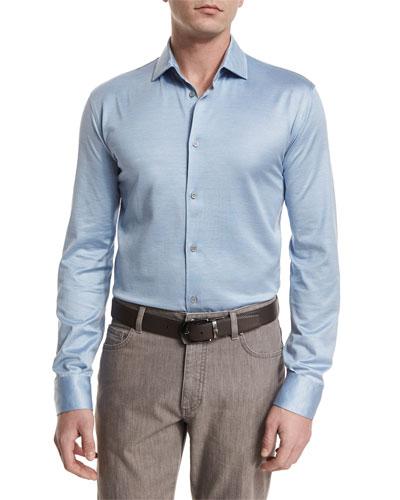 Cotton/Silk Long-Sleeve Sport Shirt, Light Blue