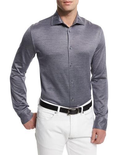 Cotton/Silk Sport Shirt, Navy