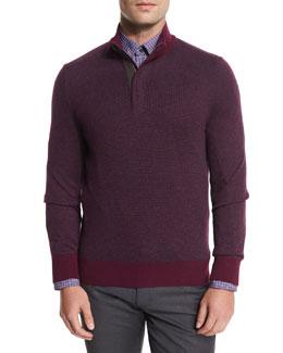 Birdseye Cashmere-Blend Quarter-Zip Sweater, Purple