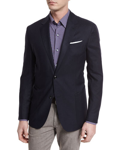 Basketweave Two-Button Silk-Blend Sport Coat, Navy