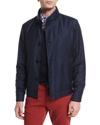 Wool Button-Down Blouson Jacket, Navy