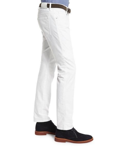 Five-Pocket Slim-Fit Jeans, White
