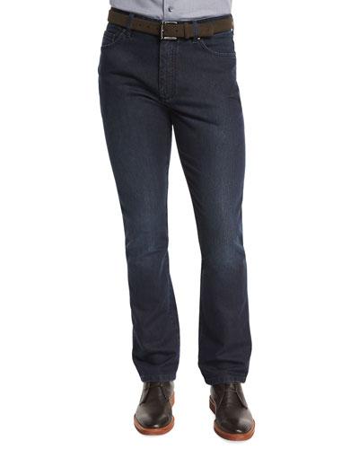 Cotton-Silk Five-Pocket Denim Jeans, Dark Indigo