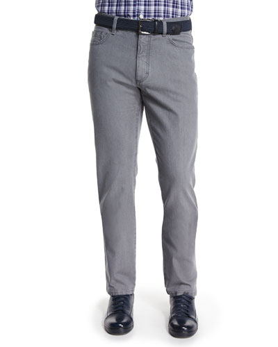 Five-Pocket Slim-Fit Denim Jeans, Light Gray