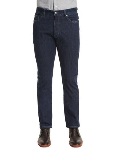Five-Pocket Stretch-Cotton Denim Jeans, Medium Indigo