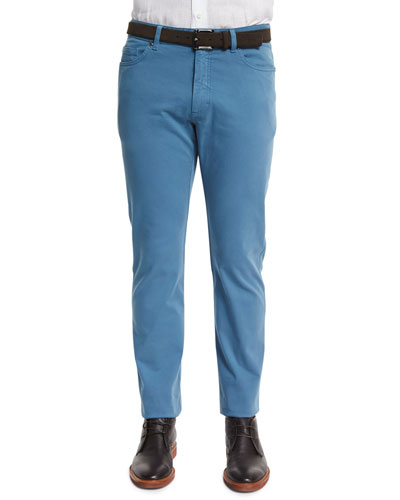 Five-Pocket Stretch-Cotton Pants, Sky Blue