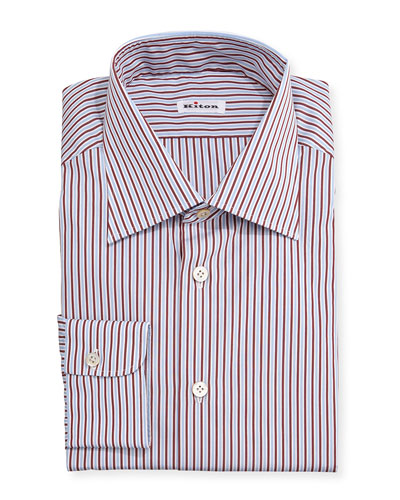 Striped Woven Dress Shirt, Light Blue/Red