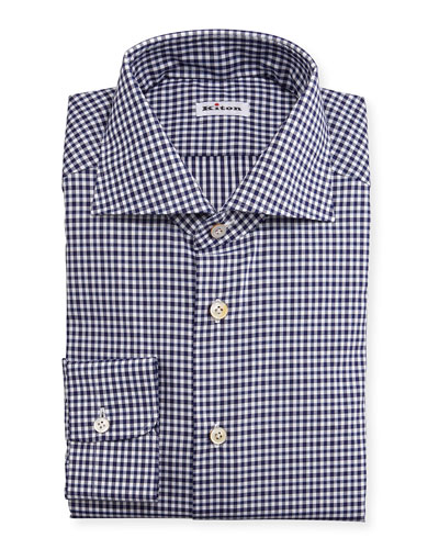 Unbalanced Gingham Woven Dress Shirt, Navy