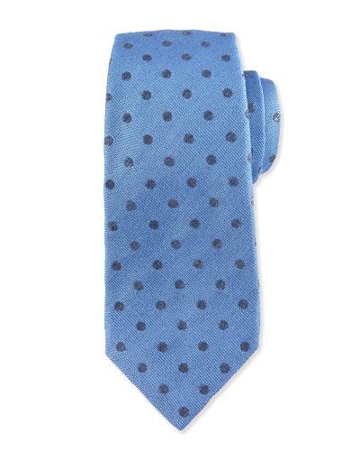 Dot-Print Silk Tie, Blue