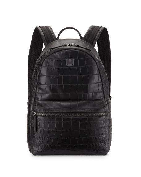Luxus Crocodile-Embossed Backpack, Black