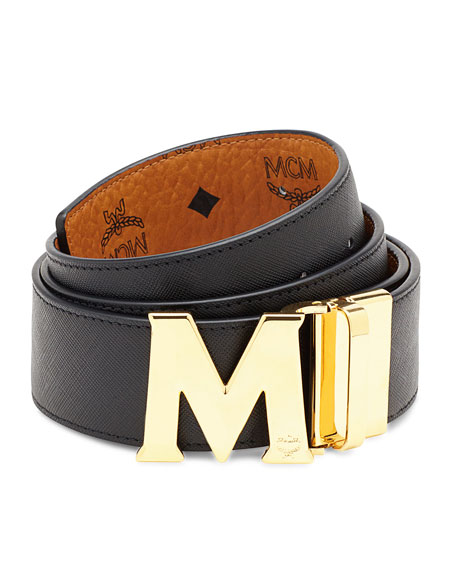 942fec7b065 MCM Reversible Visetos Saffiano Leather Belt