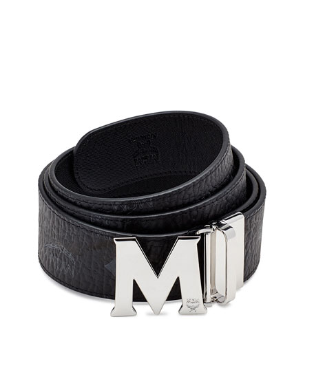 Visetos Reversible Leather Belt, Black