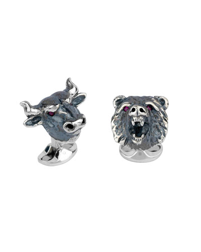 Bull & Bear Silver Cuff Links