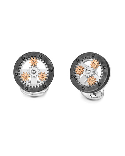 Gear Wheel Silver Cuff Links