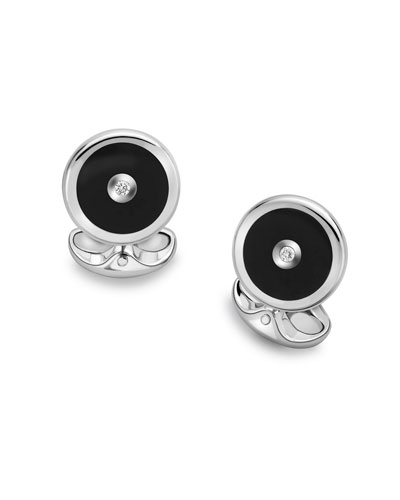 Black Onyx & Diamond Cuff Links