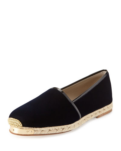 Men's Velvet Slip-On Espadrille, Navy