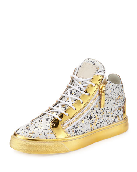 Paint-Splatter Mid-Top Sneaker, Gold/White