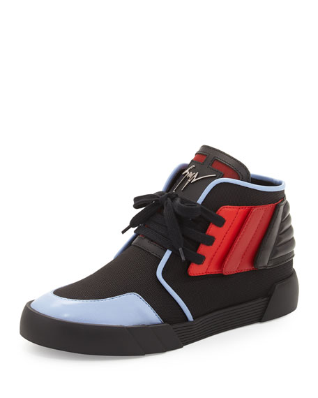 Giuseppe Zanotti Foxy London High-Top Sneaker, Black/Red/Blue