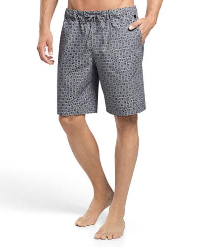 Sergio Printed Woven Lounge Shorts, Gray/White
