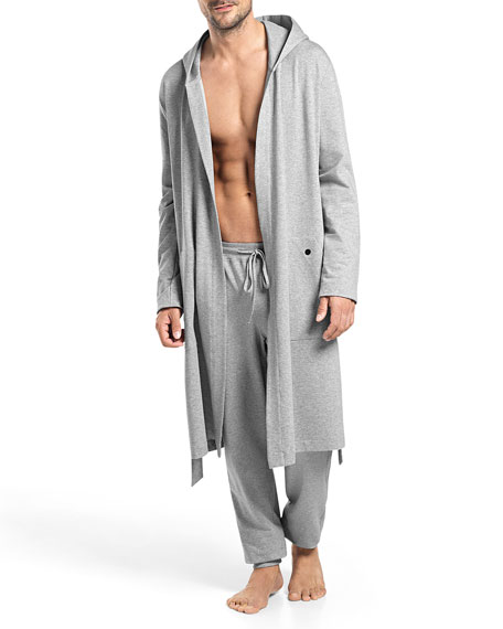 Luis Hooded Wrap Robe, Gray