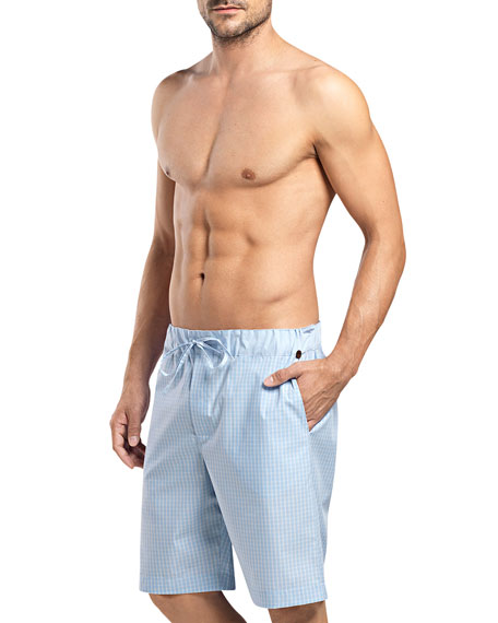 Hanro Night & Day Check Lounge Shorts, Blue