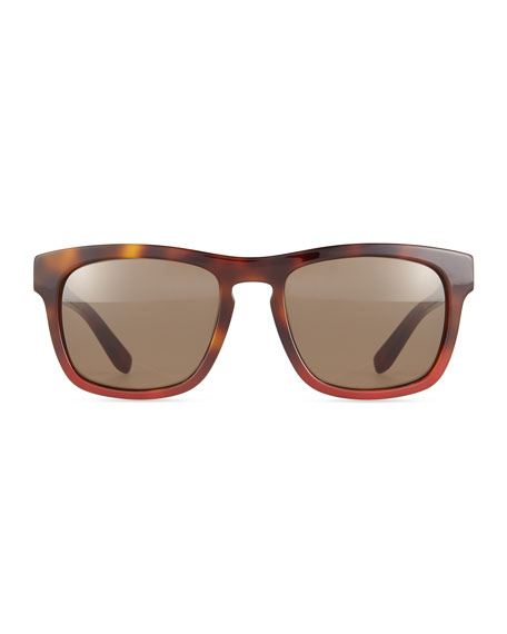 Tortoise Plastic Sunglasses, Havana Red