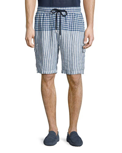 Striped Linen Cargo Shorts, Blue Pattern