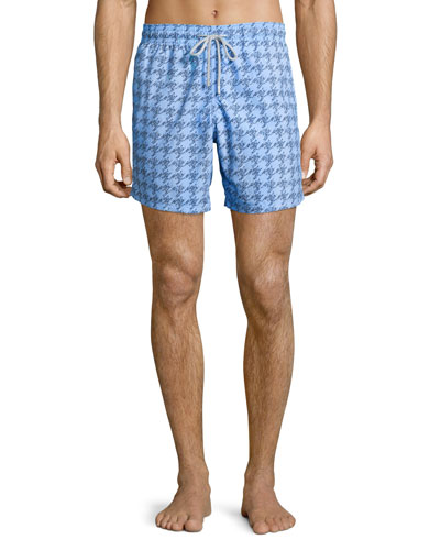 Moorea Sardine-Print Swim Trunks, Blue Pattern