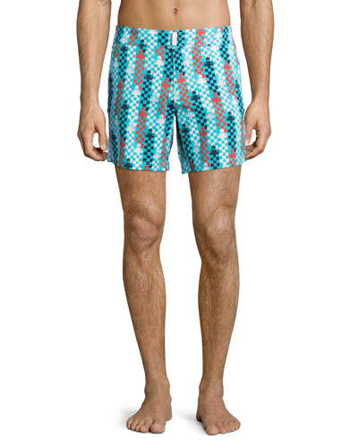Merise Lighthouse-Print Swim Trunks, Multi