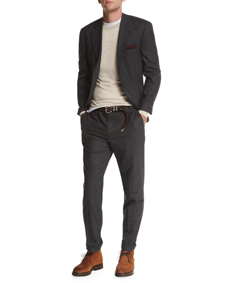 Textured Three-Button Wool Two-Piece Suit, Charcoal
