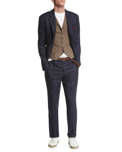 Check Two-Button Wool Blazer, Blue