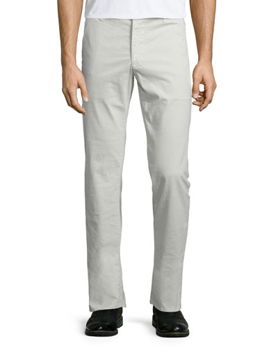 Lux Khaki Flat-Front Trousers, Bleached Sand