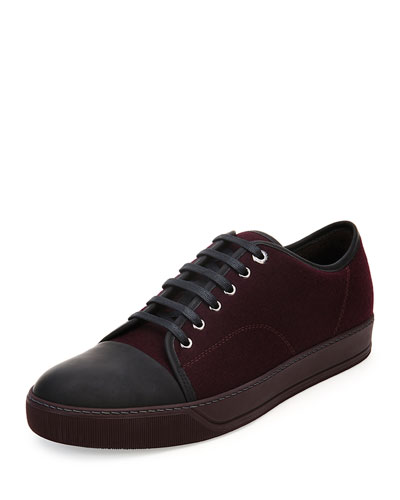 Matte Cap-Toe Suede Low-Top Sneaker, Burgundy