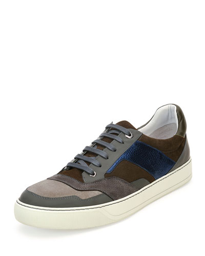 Men's Mixed-Media Low-Top Sneaker, Brown