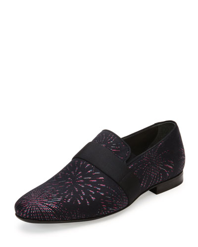 Firework-Print Slip-On Shoe, Black/Red/Silver