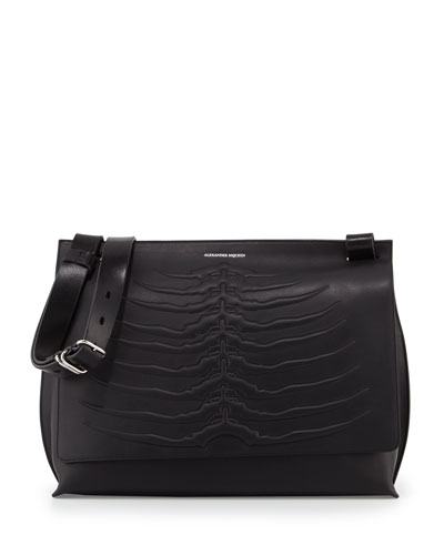 Men's Embossed Rib Cage Leather Messenger Bag, Black
