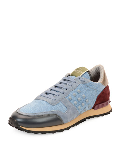 Rockstud Denim & Leather Trainer Sneaker, Light Blue