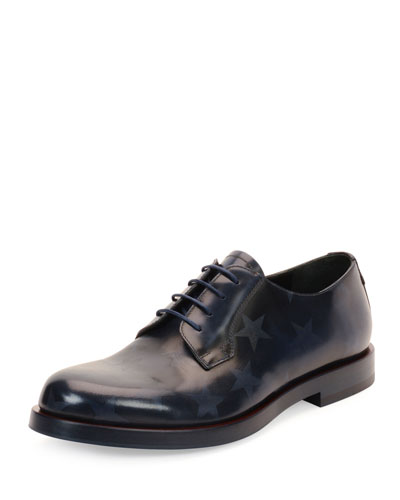 Embossed-Star Lace-Up Leather Shoe, Blue