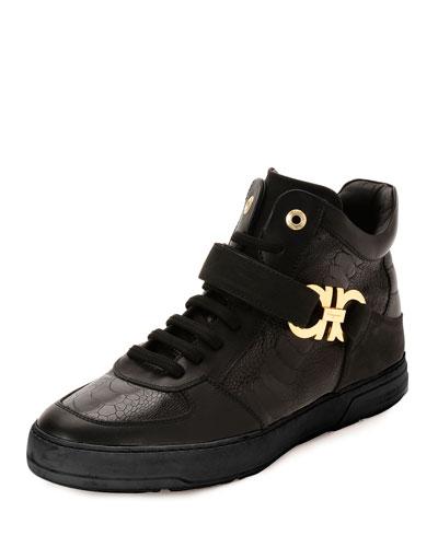Nayon 4 Ostrich Leg High-Top Sneaker, Black
