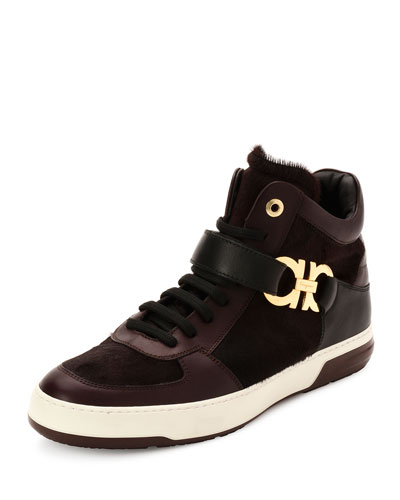Nayon 3 Calf Hair High-Top Sneaker, Wine