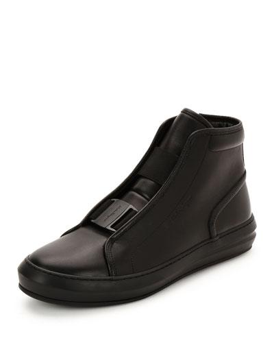Ground Buckle-Front Calfskin High-Top Sneaker, Black