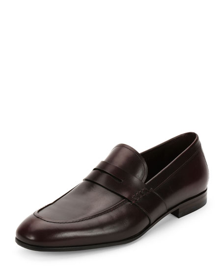 Calfskin Penny Loafer, Wine