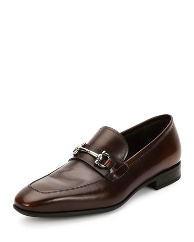 Giant Calfskin Gancini Loafer, Brown