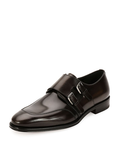 Marcelo Polished Calfskin Double Monk Shoe, Dark Silver