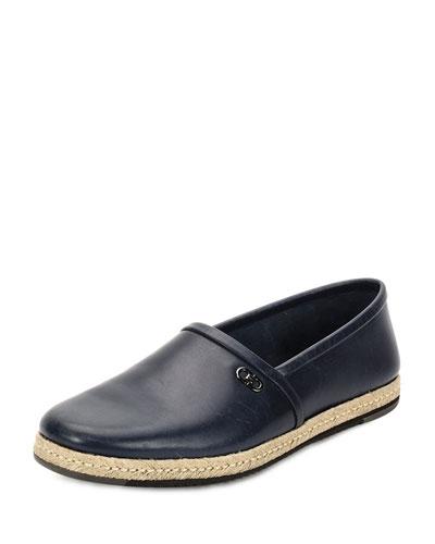 Giunone 2 Leather Espadrille Shoe, Blue Marine