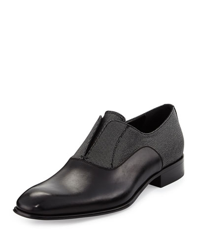 Gene 2 Calfskin and Metallic Fabric Slip-On Loafer, Black